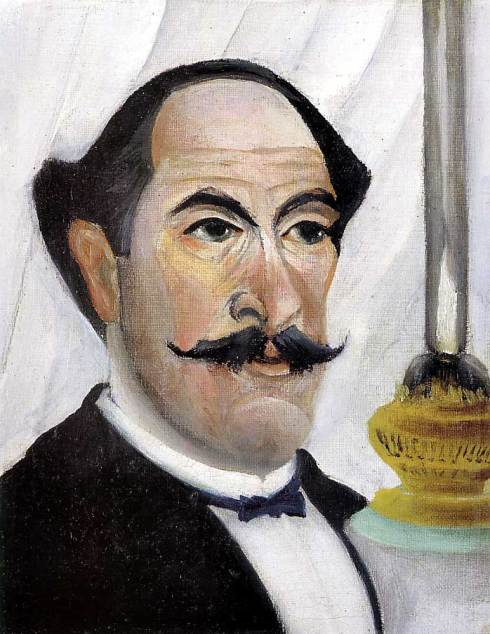"Henri Rousseau (1844, Laval - 1910, Paris),""Autoritratto dell'Artista con una lampada"" / ""Self Portrait of the Artist with a Lamp"", 1903, Olio su tela / Oil on canvas, 23 x 19 cm, Musée Picasso, Paris"